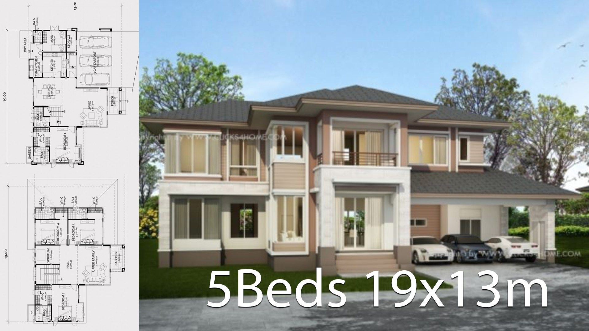 Home Design Plan 19x13m With 5 Bedrooms A Large Two Storey House With Luxurious Lines With Mode House Design Home Design Plan Architectural Design House Plans