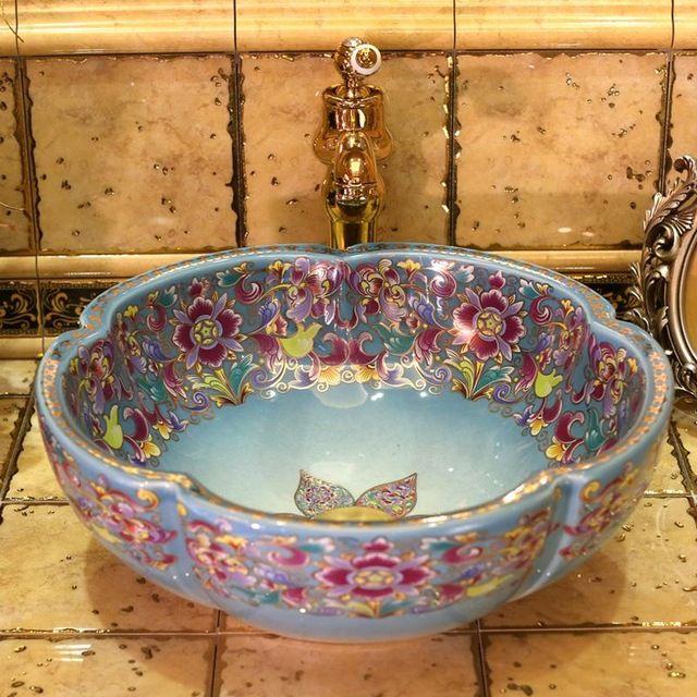 Europe Vintage Style Art Porcelain Countertop Basin Sink Handmade