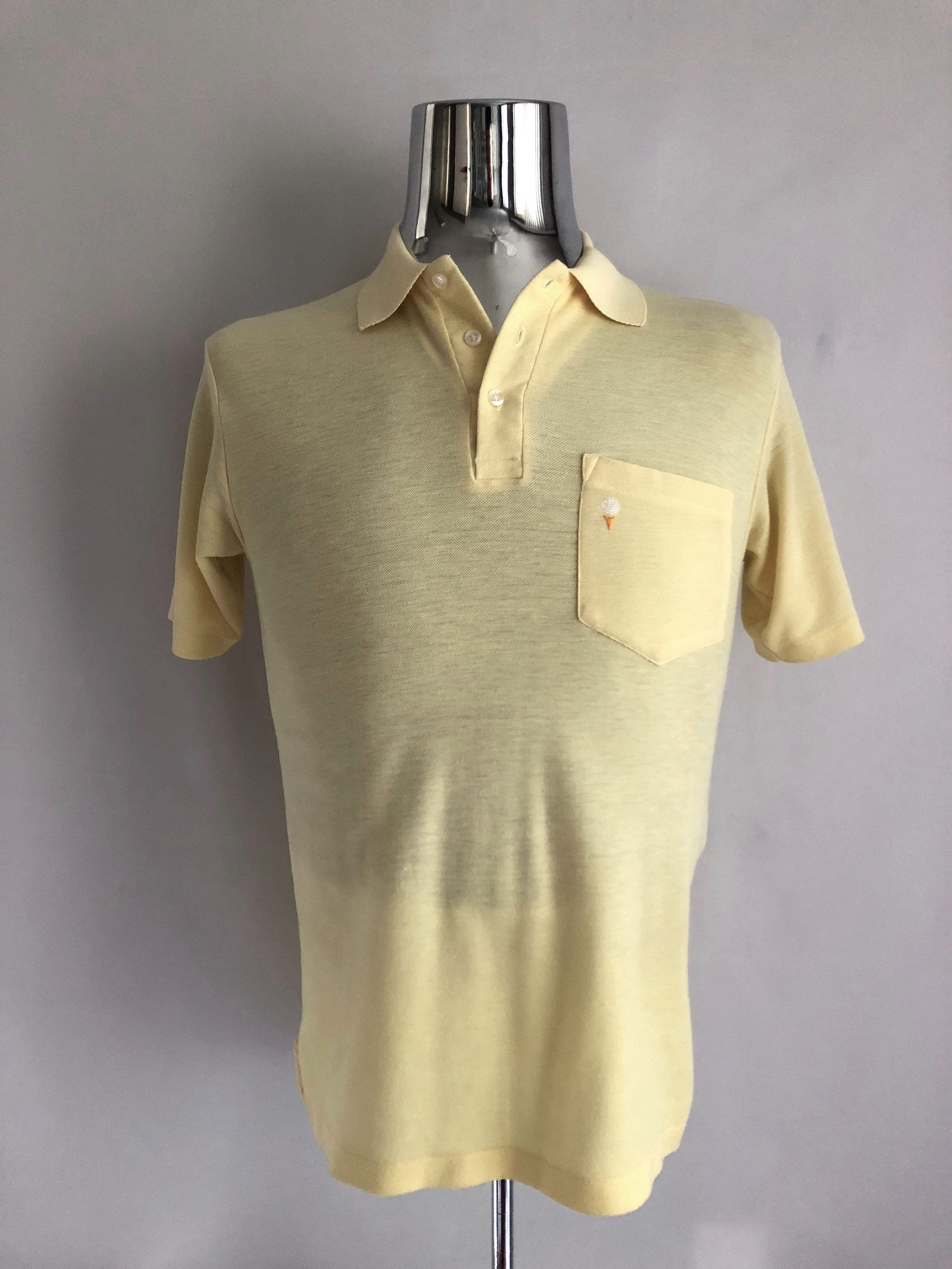 80c5060e5 Vintage Men's 80's Pale Yellow, Polo Shirt, Short Sleeve by Go Pro Manhattan  (S) by Freshandswanky on Etsy