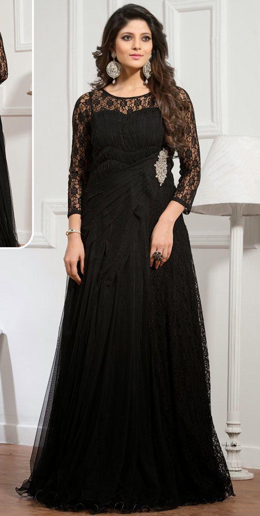2c8bdfe9acc USD 89.30 Black Net Designer Gown 48245