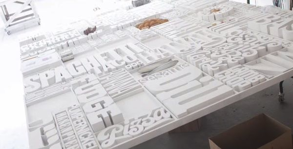 Awesome, 35-Foot-Long 3D Typographic Mural Spells Out Food-Related Words - DesignTAXI.com