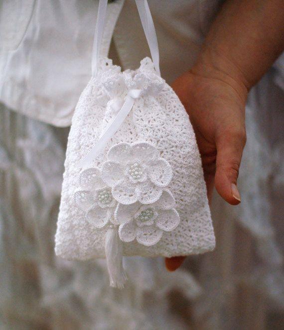 Bridal tassel purse,Gatsby crochet purse,Crochet bag vintage wedding ...