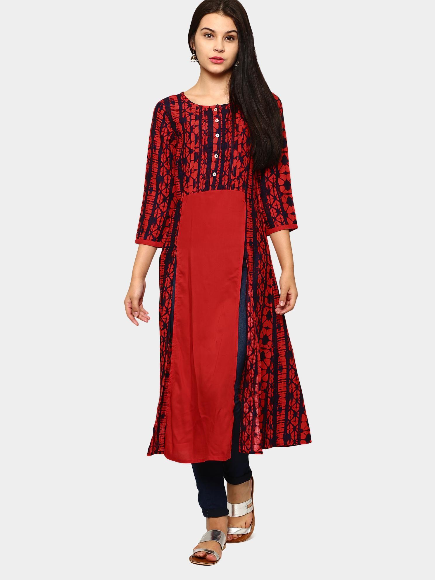 4c0827e65d1 Akkriti by Pantaloons Red Liva Printed Regular Fit Kurta