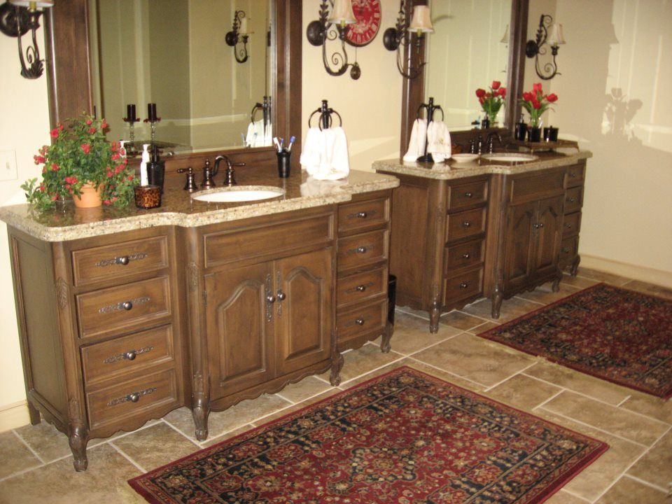 Only Use Turned Legs On Front Use Straight On The Back Then - Baseboard around bathroom vanity