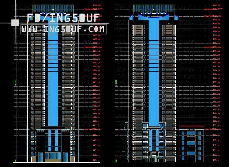 مشروع التخرج مجمع Complex من 38 طابق و 5 طوابق تحت الارض اوتوكاد Dwg مشروع التخرج متحصل على درجة عالية Architecture Design Skyscraper Autocad Drawing