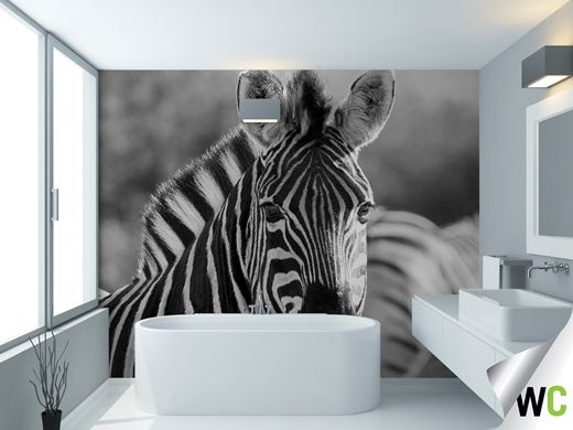 This black and white zebra wall mural makes a bold statement as a