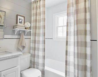 Farmhouse Shower Curtain Buffalo Check Natural Plaid White
