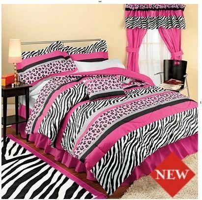 Twin Size Pink Jungle Comforter Pillow Case Sham Sheets Bed
