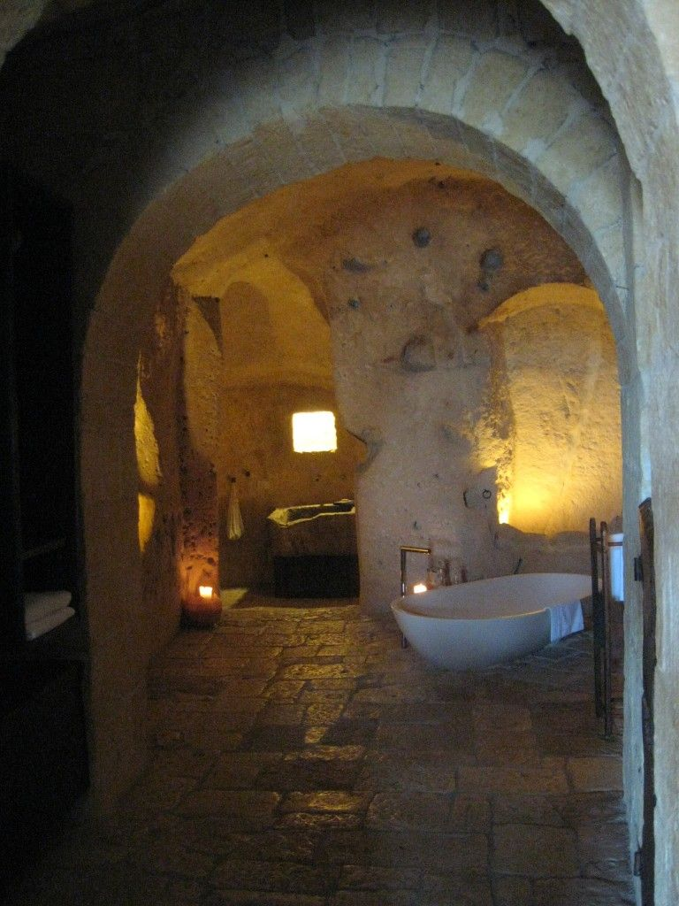 Matera Italy Le Grotte Cave Hotel Bath Freaking Awesome