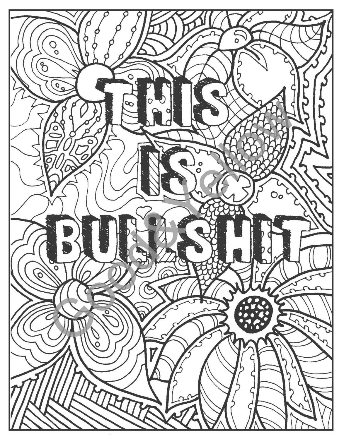 Swear word coloring pages etsy - Swear Words Adult Coloring Book Hate Your By Lovablelynzi On Etsy
