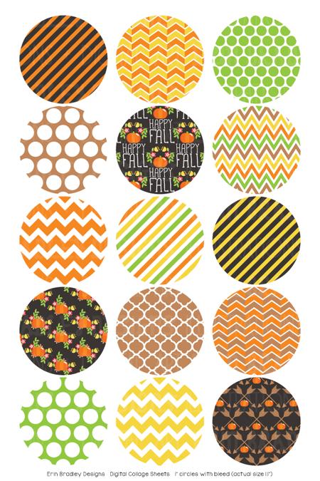 Happy Fall Digital Bottle Cap Images – Erin Bradley/Ink Obsession Designs