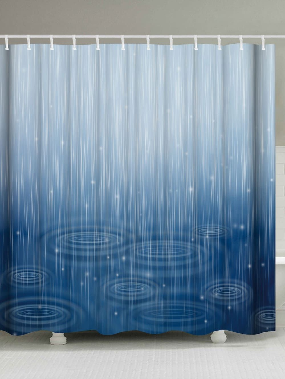 Water Ripple Fabric Shower Curtain For Bathroom