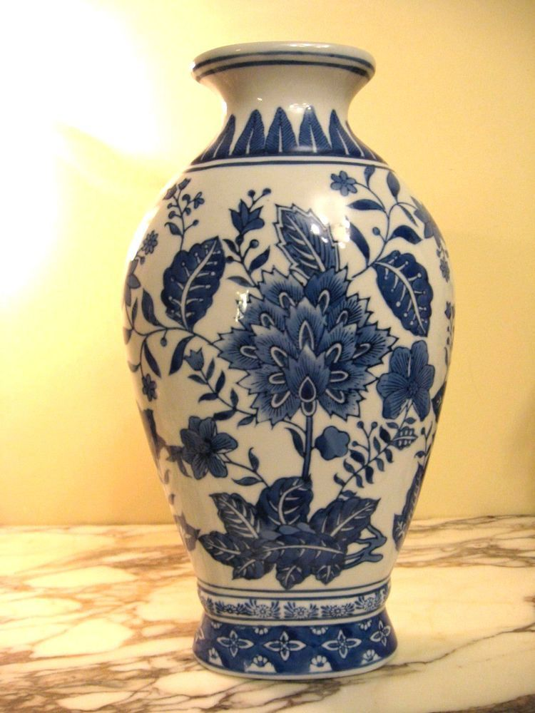 Formalities Vase By Baum Brothers Blue And White Porcelain Made In