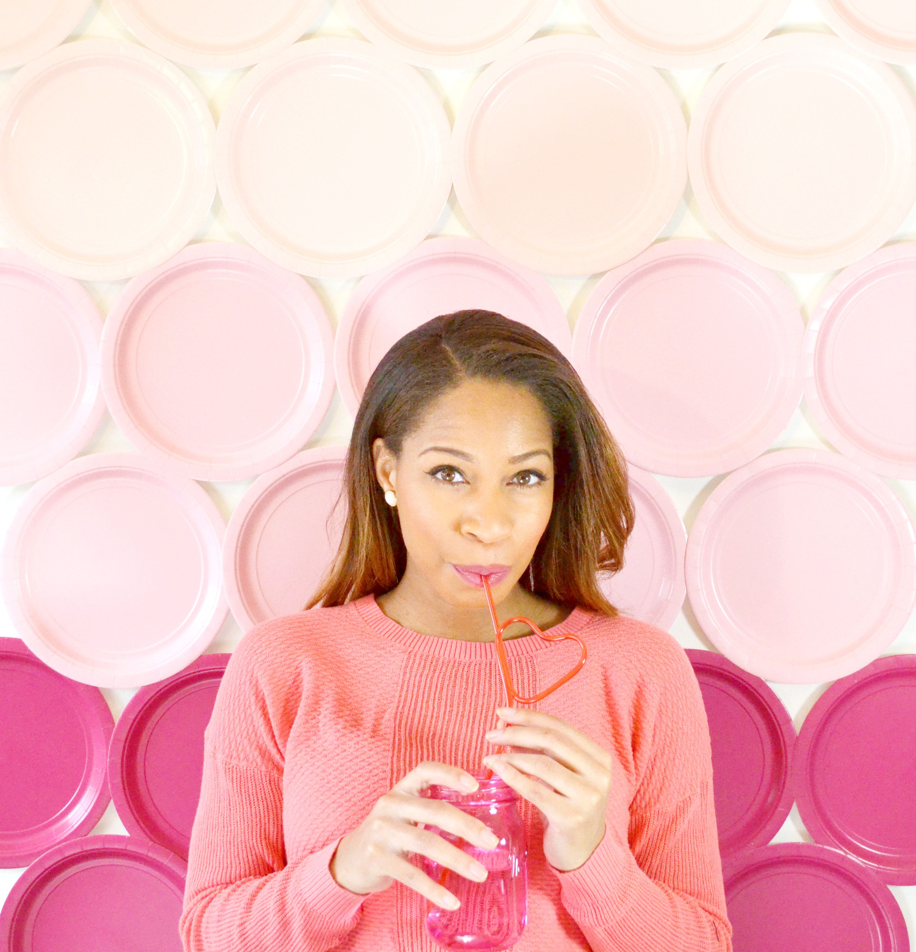 Ombre paper plate backdrop DIY from Spark & Chemistry blog - Valentine's Day, party decorations