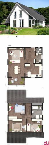 Floor plans of modern house design with gable roof architecture, conservatory …-…  – Anbau Giebelseite