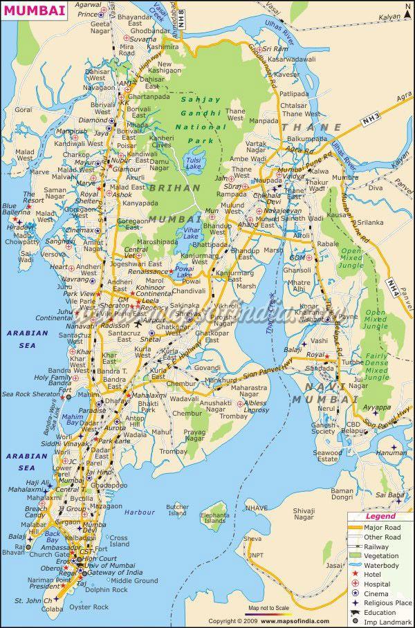 Maps Of India India Map Mumbai City Mumbai Map