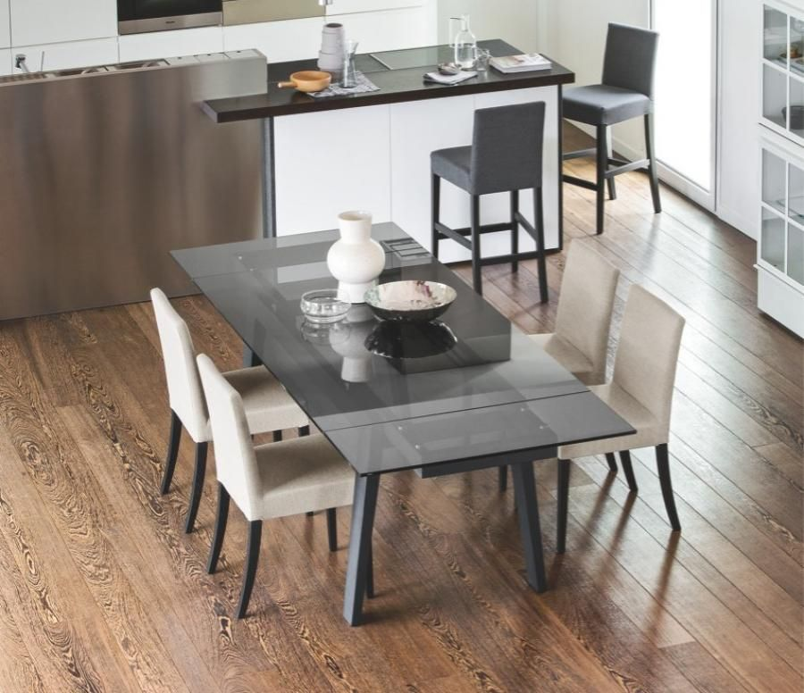 Maestro, Modern Glass Top Extending Dining Table, Wood Legs, Various  Finishes By Calligaris