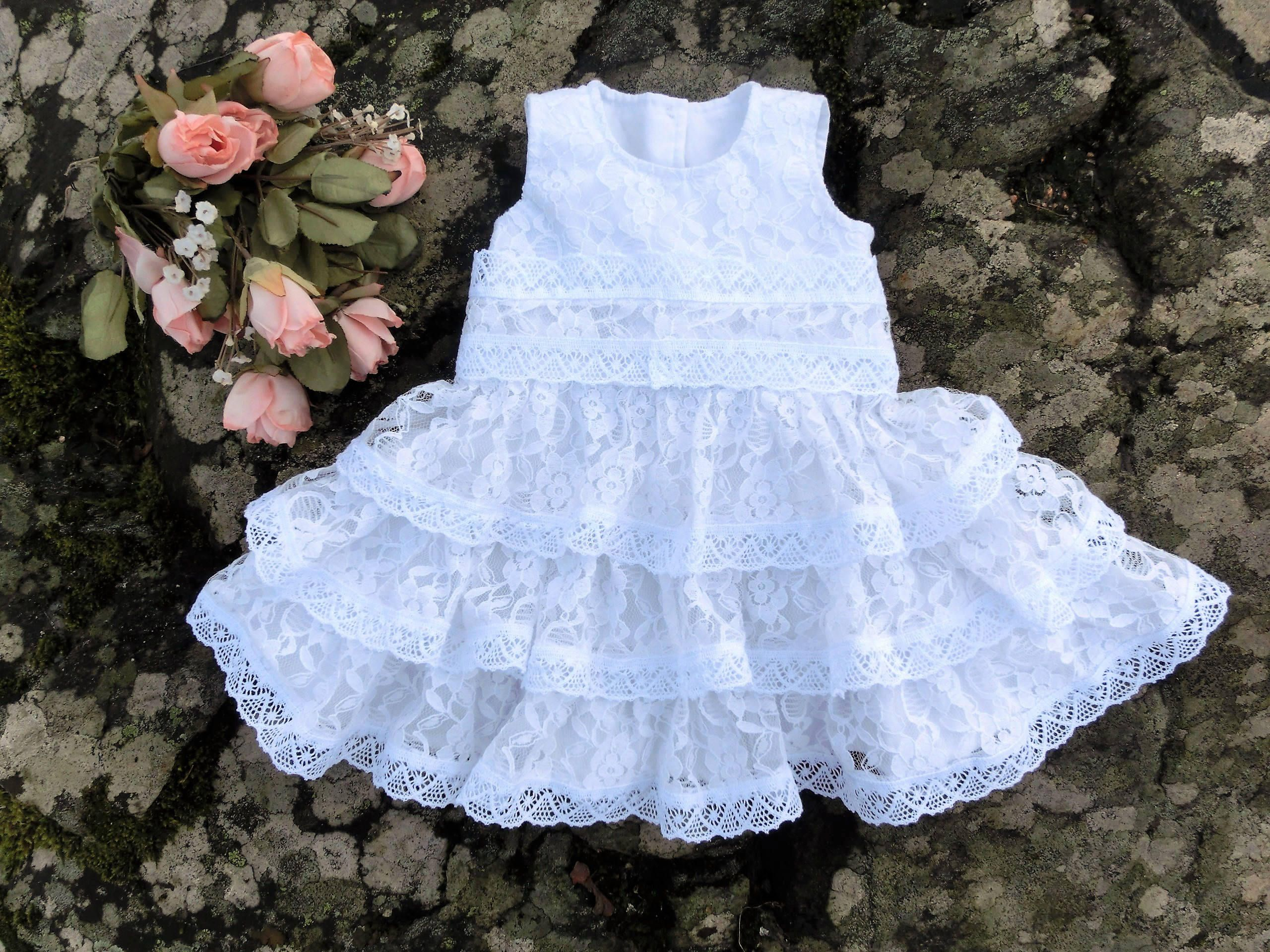 Lace Christening Dress Girls Baptism Gown Country christening dress