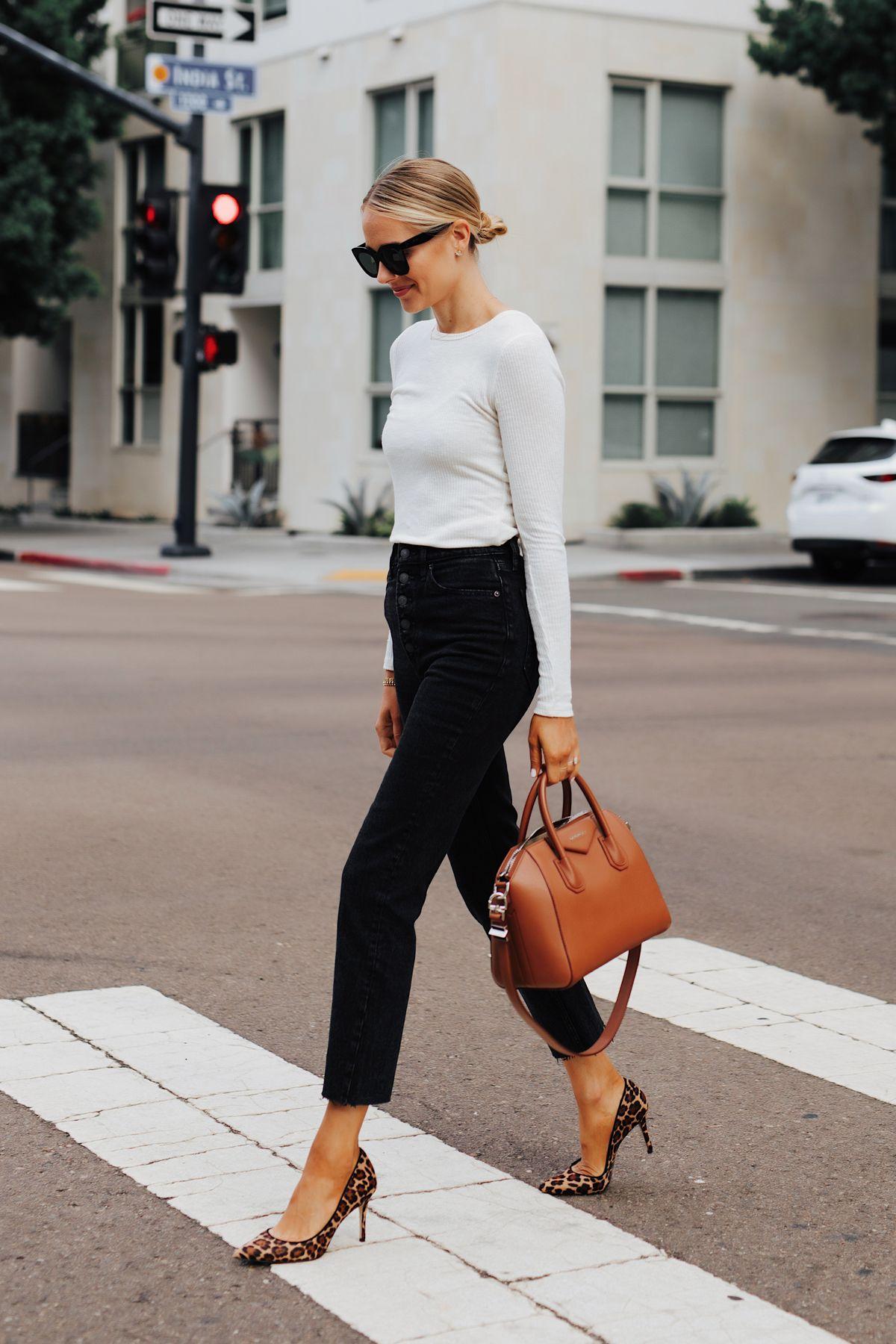 Fashion Jackson Wearing Abercrombie White Long Sleeve Top Abercrombie Raw Hem Black Jeans Leopard Pumps Givenchy Antigona Cognac Handbag