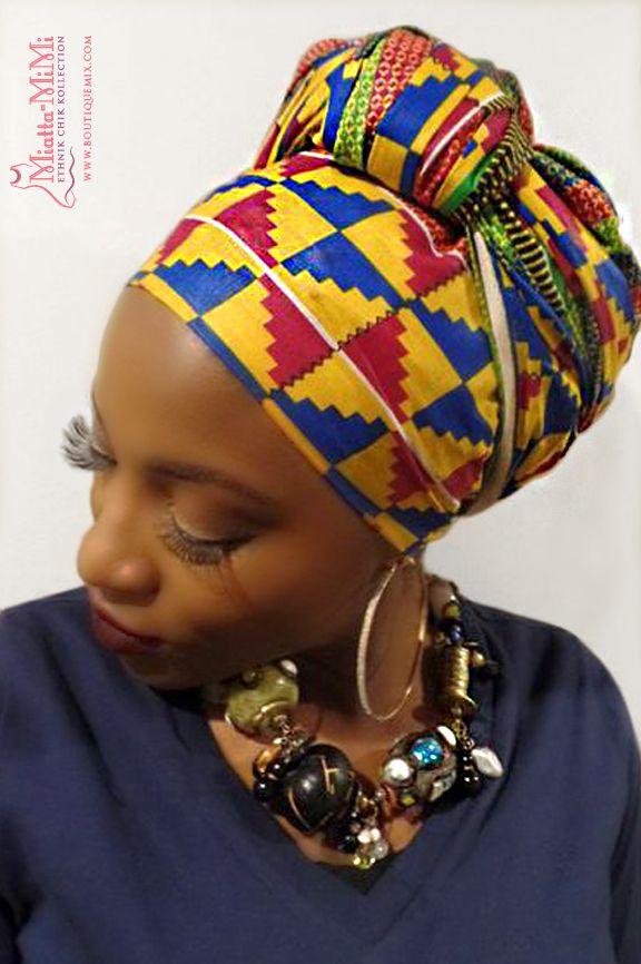 Head wrap with long scarf dress