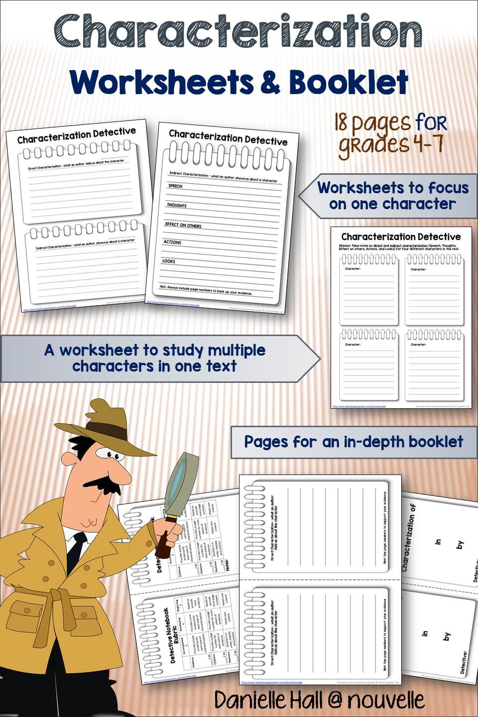 Worksheets Direct And Indirect Characterization Worksheet characterization detective worksheets and booklet pinterest students are hot on the trail for examples of direct indirect with this packet you can use three basic wo