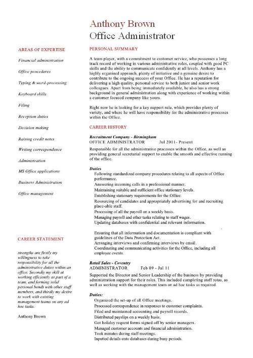 Administration C V Office Manager Resume Manager Resume