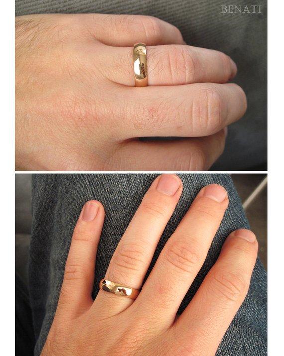 65e78ad17 18k Rose Gold 5mm Wedding Band, Mens Wide Wedding Band, Polished Mens  Wedding Ring, Court Wedding Ri