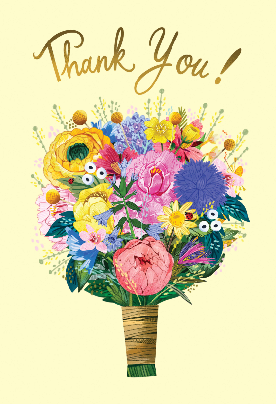 Wildflowers Bouquet Thank You Card Template Greetings Island In 2021 Thank You Flowers Thank You Card Template Thank You Cards