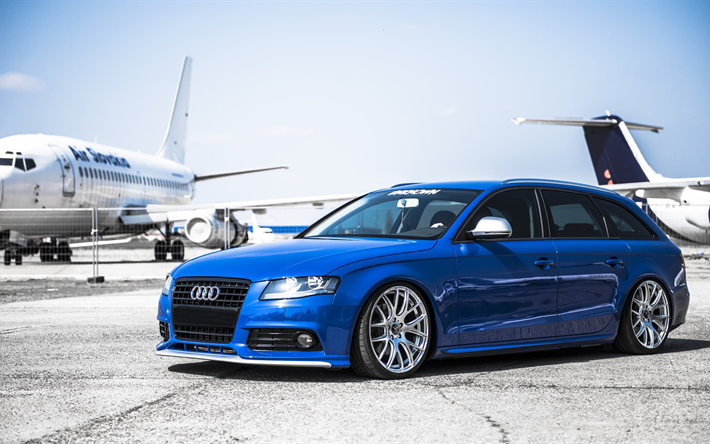 Download wallpapers audi a4 avant, stance, Tuning a4, wagon, blue a4