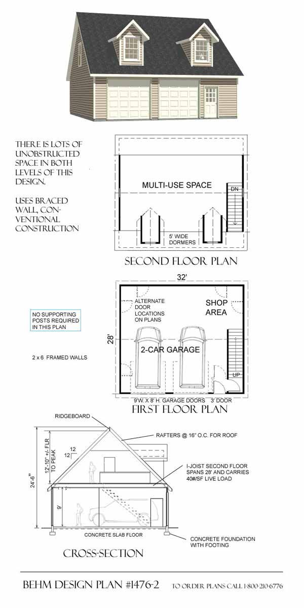 Garage Plan No 1476 2 By Behm Design 32 X 28 With Images