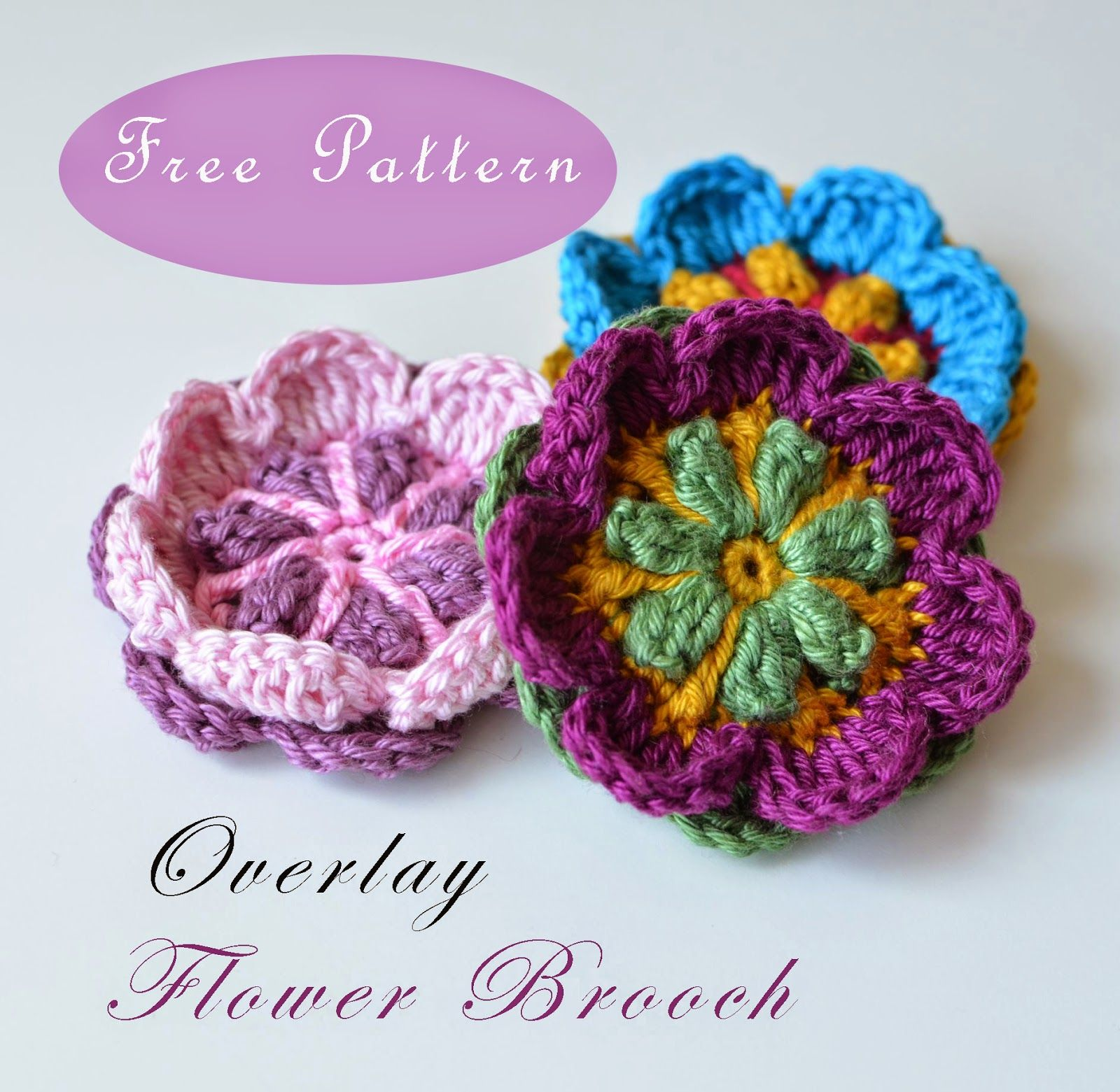 Small crocheted flower brooch made in overlay crochet. #free ...