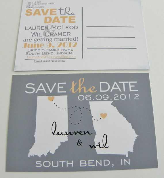 Save the Date Postcards Invitation Custom State by DefineDesign11, $69.00