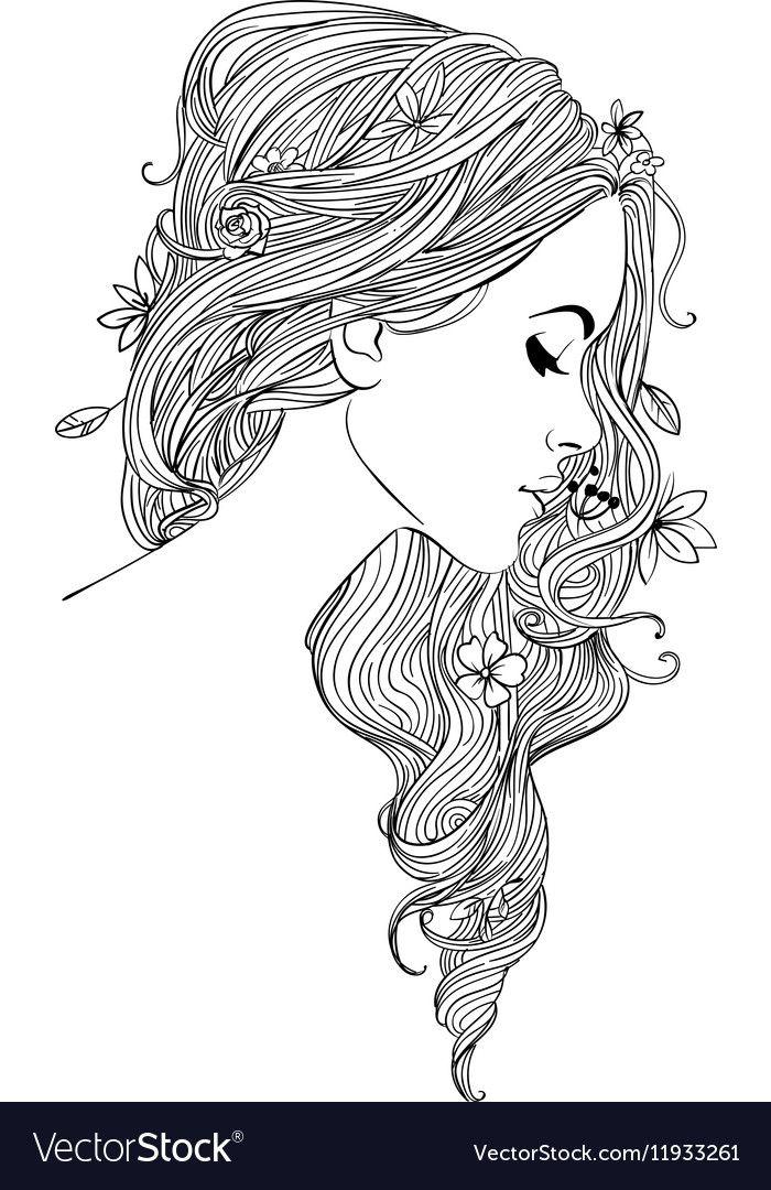 Young Beautiful Woman With Flowers Vector Image On Dibujos Para Colorear Adultos Dibujos Tumblr Para Colorear Libros Para Colorear Adultos