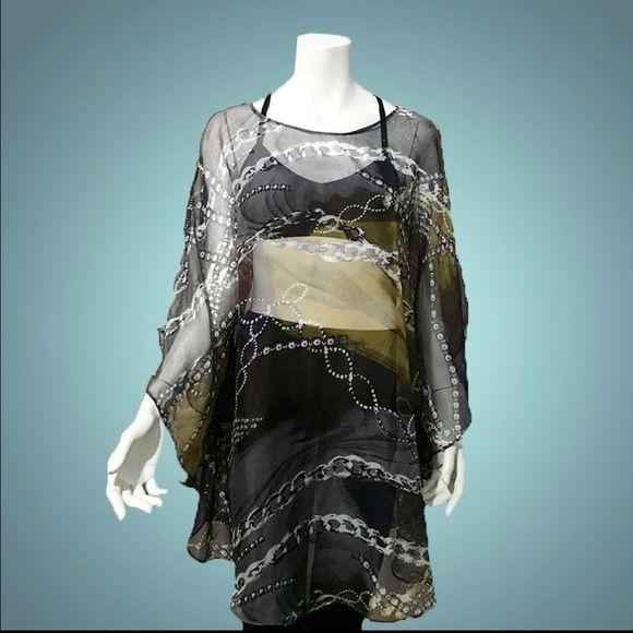 ❗️Was $28❗️Chain Me Knot Beach Cover-Up Flowy lightweight chiffon fabric. NWOT Swim Coverups