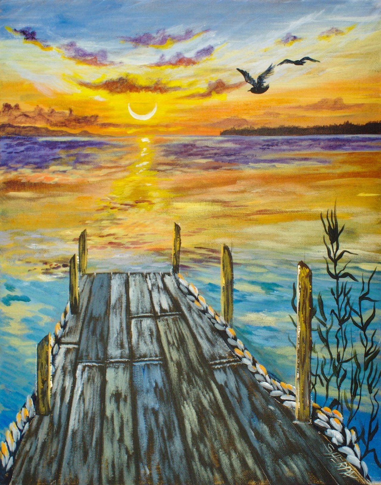 sunset over water with pier