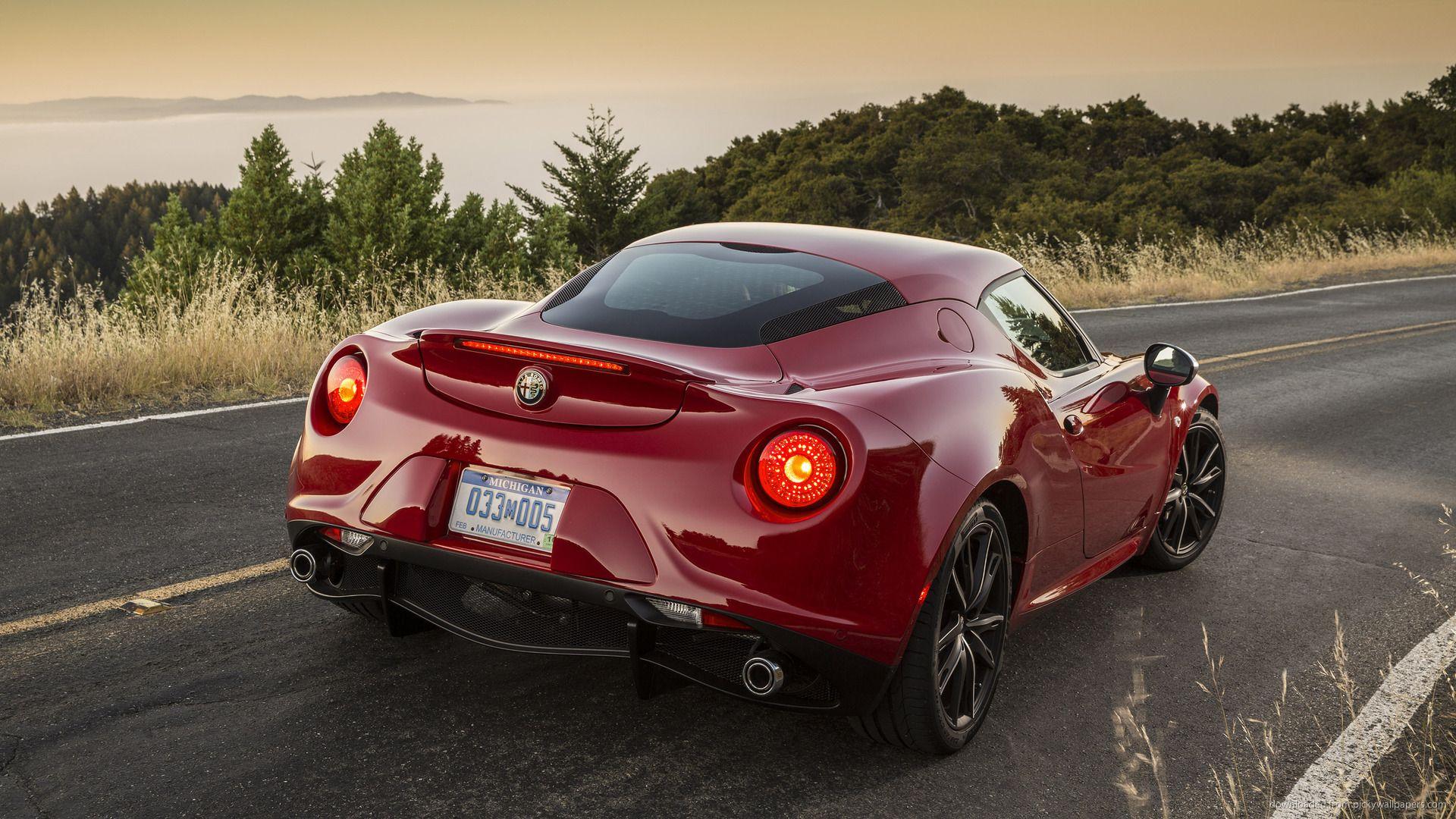 Red Alfa Romeo 4c Us Spec Back Lights On Picture Alfa Romeo 4c
