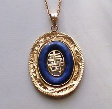 14K Gold Asian Chinese Long Life Symbol Sign Lapis Pendant Necklace Chain 4.8 g