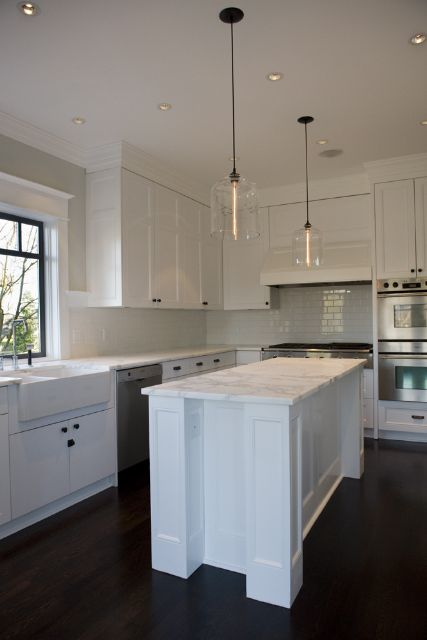 Contemporary Kitchen Lighting in Canadian Home - Crystal Bell Jars ...