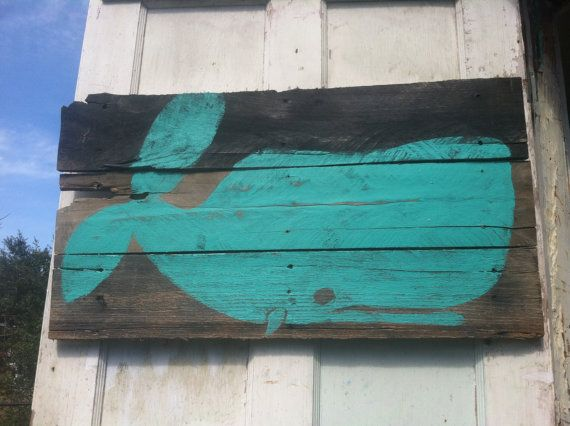 Whale on Reclaimed Wood by Onemorewave on Etsy