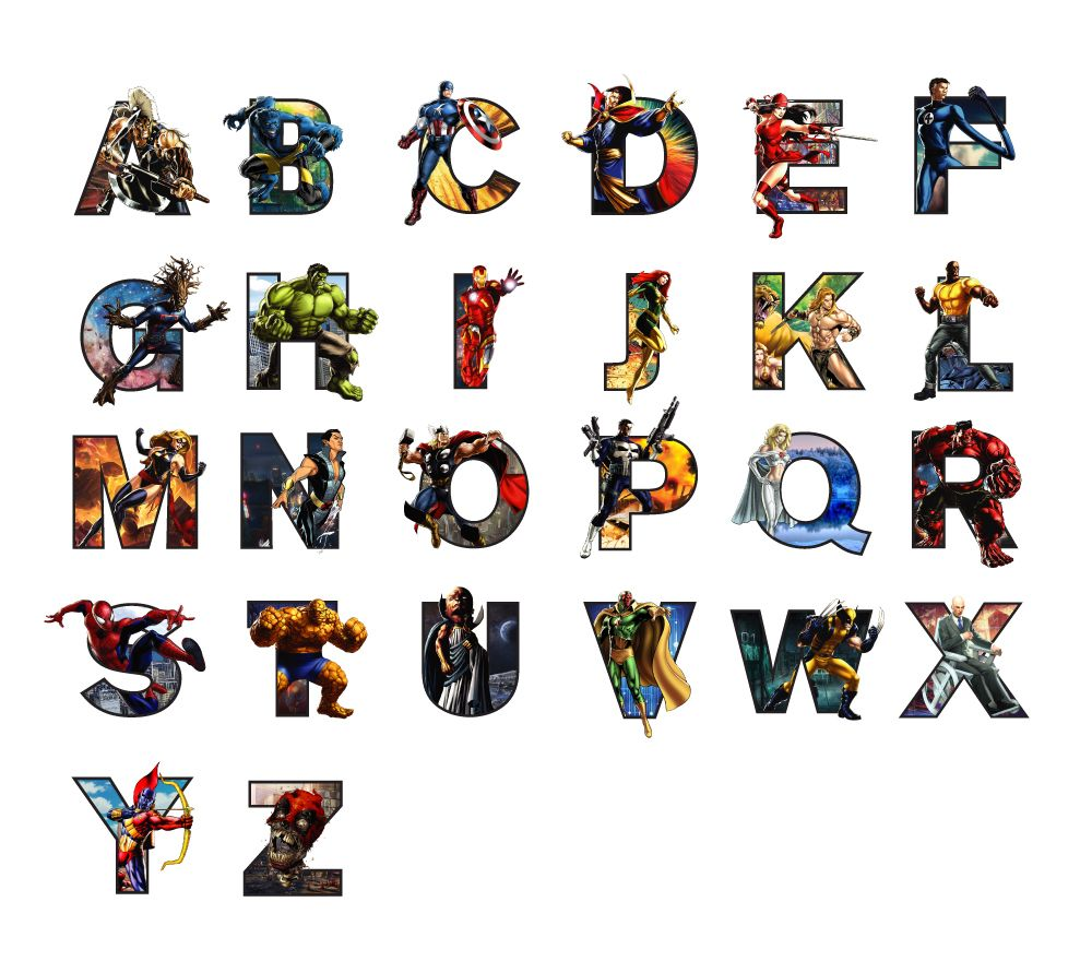 Typography Marvel Heroes style. Including captain america, thor, spider-man, wolverine, professor x, luke cage, groot, hulk, the punisher and a bunch more