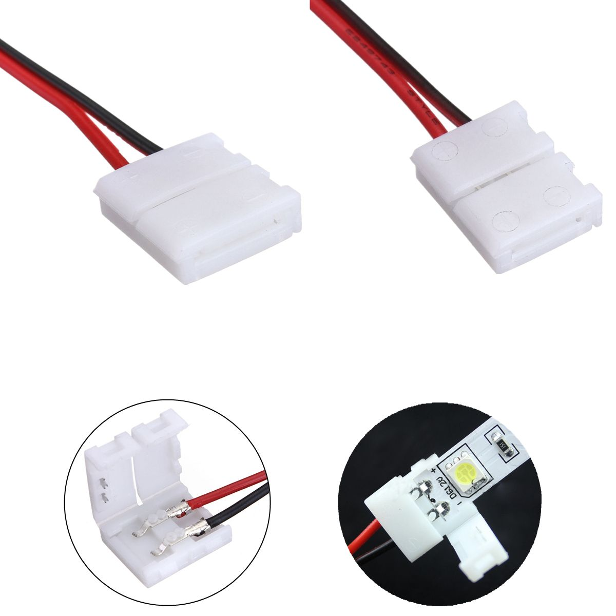 2 Pins Power Connector Adaptor For 3528 5050 Led Strip Wire With Pcb