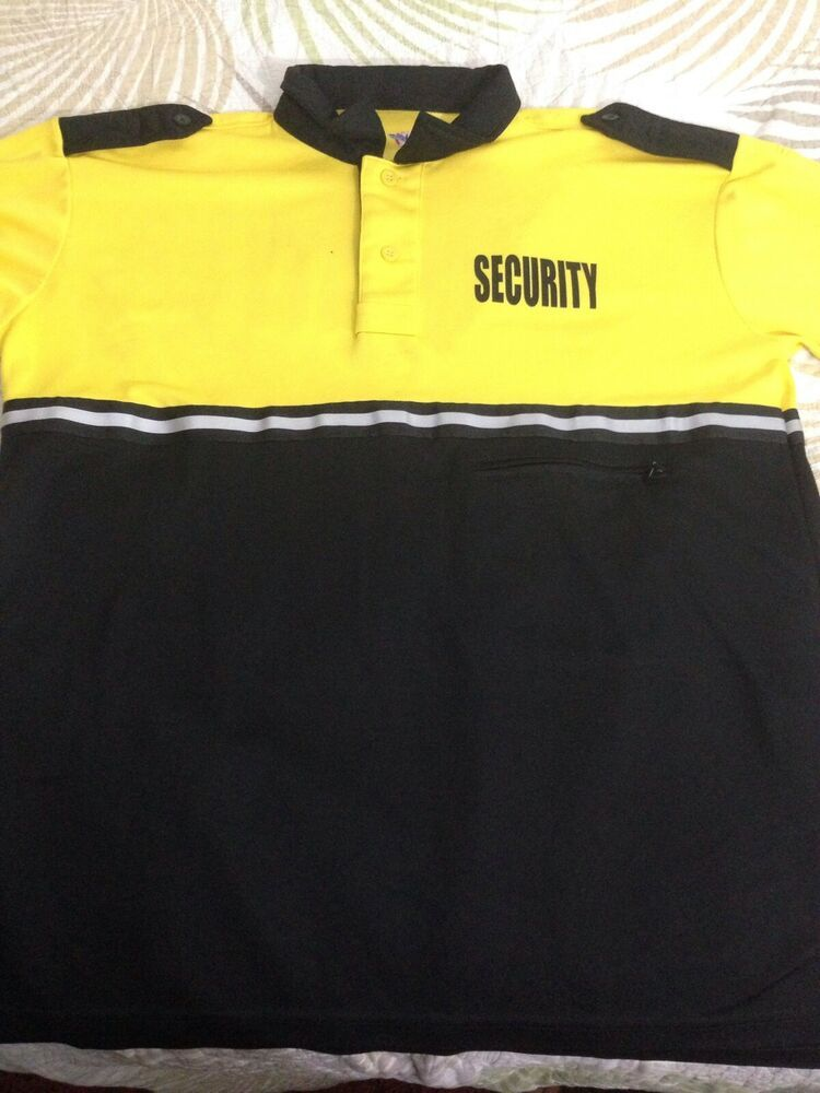 Large Long Sleeve Yellow And Black Security Shirt Made With