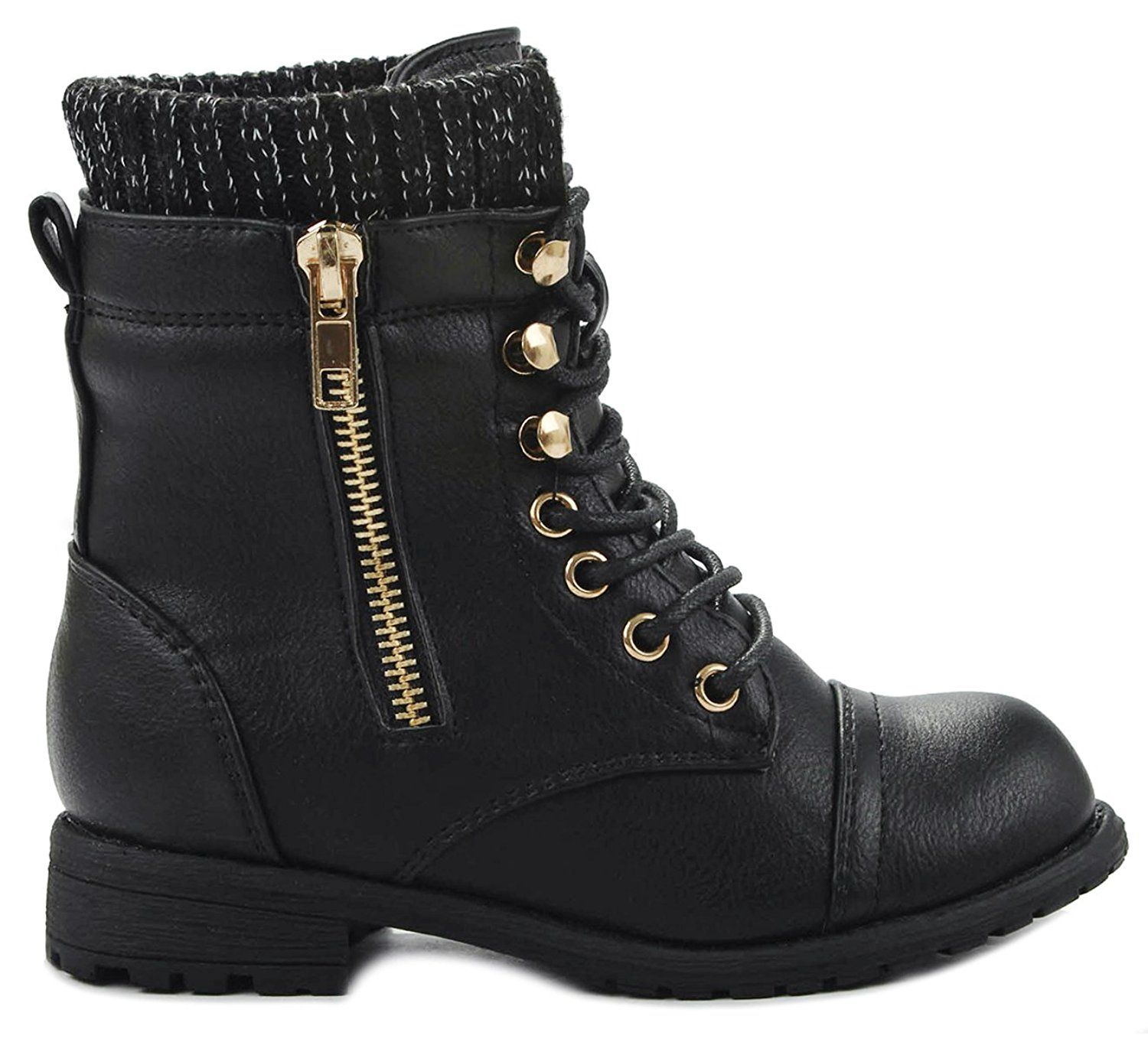 Kids Girls Bally Combat Lace Up Sweater Knit Cuff Golden Decor Zipper Ankle  Boots >>