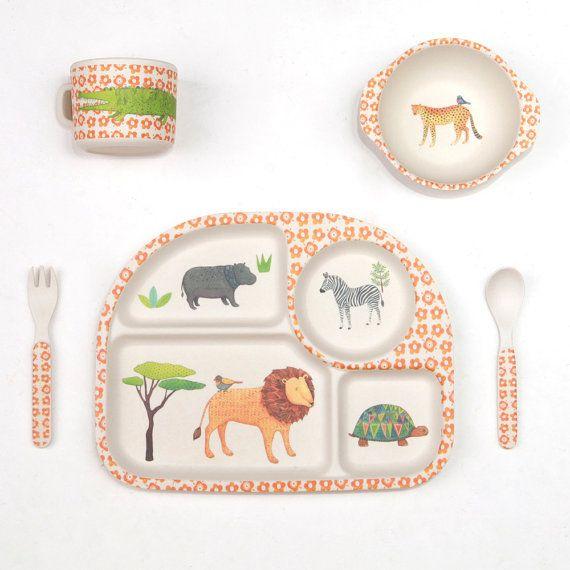 Bamboo Dinnerware On Safari Fda Lfgb Food Safe Approved Kids Dinnerware Kids Plates Kids Dinner Sets