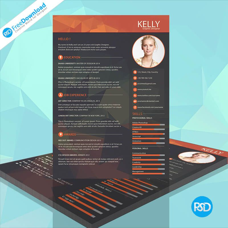 Best Resume Polygon Style PSD Free Download any resume template - i need a resume template