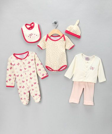 Take a look at this Pink Butterfly & Flower Cardigan Set by Little Beginnings on #zulily today!