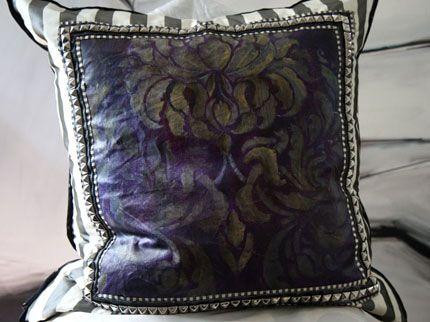 Wall stencil Florentine Damask. Stencil in silk on an amazing studded pillow by Lauren Tennenbaum. http://www.royaldesignstudio.com/
