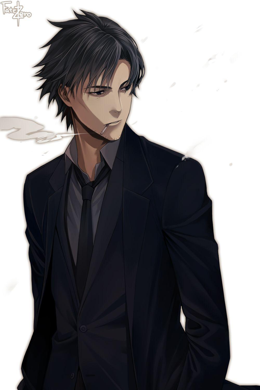 Emiya Kiritsugu Anime Black Hair Anime Guys Anime Guy Blue Hair