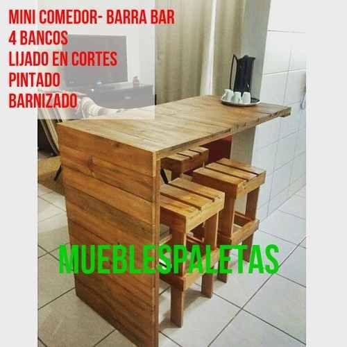 Mesa barra bar de palets 4 bancos pintado barnizado   bs. 75.999 ...
