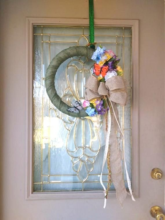 Photo of Floral Wreath for Front Door, Floral Hoop Wreath, Floral Wreath with Butterflies, Bohemian Decoration, Everyday Floral Wreath
